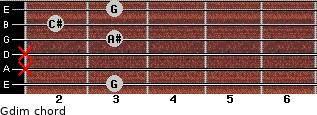 Gdim for guitar on frets 3, x, x, 3, 2, 3