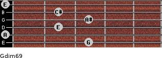 Gdim6/9 for guitar on frets 3, 0, 2, 3, 2, 0