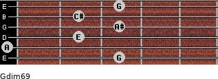 Gdim6/9 for guitar on frets 3, 0, 2, 3, 2, 3