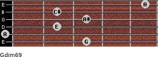 Gdim6/9 for guitar on frets 3, 0, 2, 3, 2, 5