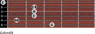 Gdim6/9 for guitar on frets 3, 1, 2, 2, 2, 0