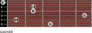 Gdim6/9 for guitar on frets 3, 1, 5, 2, 2, 0