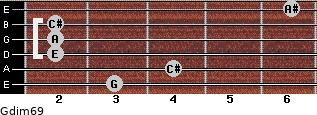 Gdim6/9 for guitar on frets 3, 4, 2, 2, 2, 6