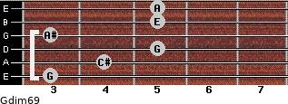 Gdim6/9 for guitar on frets 3, 4, 5, 3, 5, 5