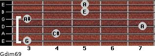 Gdim6/9 for guitar on frets 3, 4, 7, 3, 5, 5