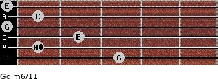 Gdim6/11 for guitar on frets 3, 1, 2, 0, 1, 0