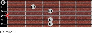 Gdim6/11 for guitar on frets 3, 3, x, 3, 2, 0
