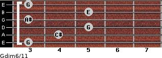 Gdim6/11 for guitar on frets 3, 4, 5, 3, 5, 3