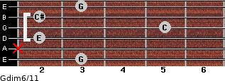 Gdim6/11 for guitar on frets 3, x, 2, 5, 2, 3