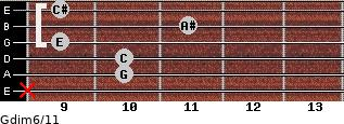 Gdim6/11 for guitar on frets x, 10, 10, 9, 11, 9