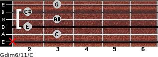 Gdim6/11/C for guitar on frets x, 3, 2, 3, 2, 3