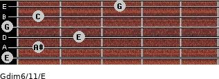 Gdim6/11/E for guitar on frets 0, 1, 2, 0, 1, 3