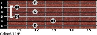 Gdim6/11/E for guitar on frets 12, 13, 11, 12, 11, 12