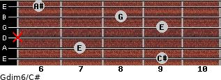 Gdim6/C# for guitar on frets 9, 7, x, 9, 8, 6