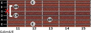 Gdim6/E for guitar on frets 12, 13, 11, x, 11, 12