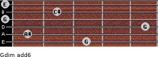 Gdim(add6) for guitar on frets 3, 1, 5, 0, 2, 0