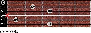 Gdim(add6) for guitar on frets 3, 1, x, 3, 2, 0
