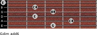 Gdim(add6) for guitar on frets 3, 4, 2, 3, 2, 0