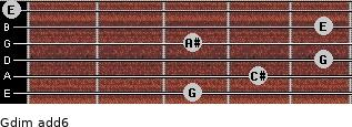 Gdim(add6) for guitar on frets 3, 4, 5, 3, 5, 0