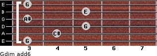 Gdim(add6) for guitar on frets 3, 4, 5, 3, 5, 3