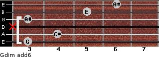Gdim(add6) for guitar on frets 3, 4, x, 3, 5, 6
