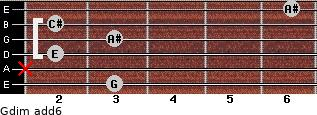 Gdim(add6) for guitar on frets 3, x, 2, 3, 2, 6