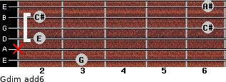 Gdim(add6) for guitar on frets 3, x, 2, 6, 2, 6