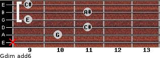 Gdim(add6) for guitar on frets x, 10, 11, 9, 11, 9