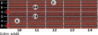 Gdim(add6) for guitar on frets x, 10, 11, x, 11, 12