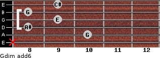 Gdim(add6) for guitar on frets x, 10, 8, 9, 8, 9