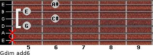 Gdim(add6) for guitar on frets x, x, 5, 6, 5, 6