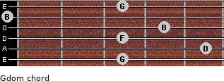 Gdom for guitar on frets 3, 5, 3, 4, 0, 3
