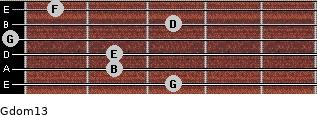 Gdom13 for guitar on frets 3, 2, 2, 0, 3, 1