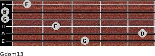 Gdom13 for guitar on frets 3, 5, 2, 0, 0, 1