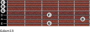 Gdom13 for guitar on frets 3, 5, 3, 0, 0, 0