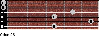 Gdom13 for guitar on frets 3, 5, 3, 4, 0, 0