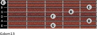 Gdom13 for guitar on frets 3, 5, 3, 4, 5, 0