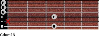 Gdom13 for guitar on frets 3, x, 3, 0, 0, 0