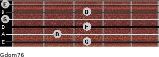 Gdom7/6 for guitar on frets 3, 2, 3, 0, 3, 0