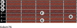 Gdom7/6 for guitar on frets 3, 5, 3, 0, 0, 0