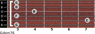 Gdom7/6 for guitar on frets 3, 7, 3, 4, 3, 3