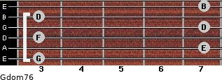 Gdom7/6 for guitar on frets 3, 7, 3, 7, 3, 7