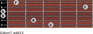 Gdom7(add13) for guitar on frets 3, 2, 0, 0, 5, 1