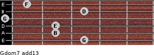 Gdom7(add13) for guitar on frets 3, 2, 2, 0, 3, 1
