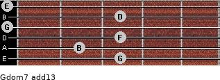 Gdom7(add13) for guitar on frets 3, 2, 3, 0, 3, 0