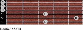 Gdom7(add13) for guitar on frets 3, 5, 3, 0, 0, 0