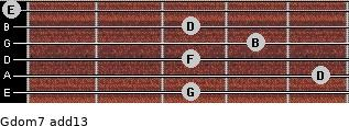 Gdom7(add13) for guitar on frets 3, 5, 3, 4, 3, 0