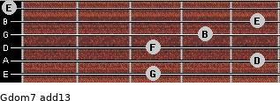 Gdom7(add13) for guitar on frets 3, 5, 3, 4, 5, 0