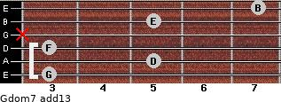 Gdom7(add13) for guitar on frets 3, 5, 3, x, 5, 7