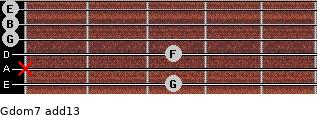 Gdom7(add13) for guitar on frets 3, x, 3, 0, 0, 0